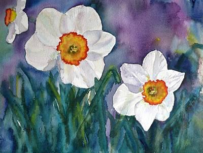Art Print featuring the painting Daffodil Dream by Anna Ruzsan