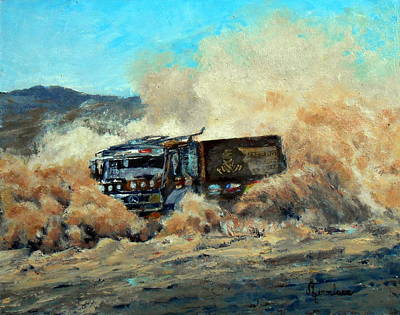 Gravel Road Painting - Rally Dakar Giant by Silvana Miroslava Albano