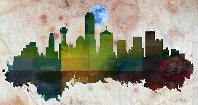 Usa Painting - Dallas City Skylines Silhouette by MotionAge Designs