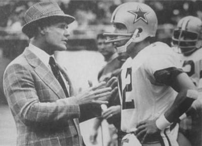 Dallas Cowboys Coach Tom Landry And Quarterback #12 Roger Staubach Art Print by Donna Wilson