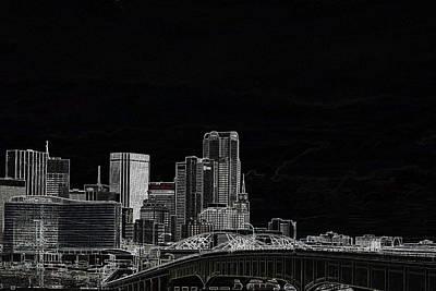 Dallas Skyline In Black - East Art Print
