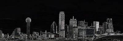 Dallas Skyline In Black Art Print