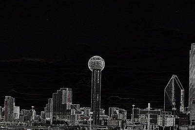 Dallas Skyline In Black- West Art Print