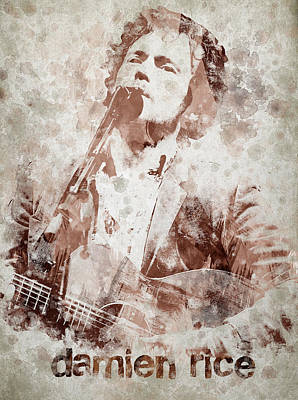 Famous Artist Digital Art - Damien Rice Portrait by Aged Pixel