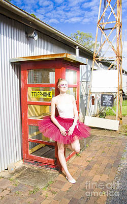 Fuschia Photograph - Dancer And Telephone Box by Jorgo Photography - Wall Art Gallery