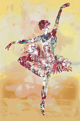 Abstract Pop Drawing - Dancing Girl Pop Stylised Art Poster by Kim Wang