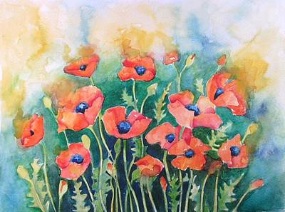 Poppies Painting - Dancing Poppies by Angie Livingstone