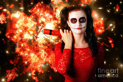 Dangerous Sugarskull Bomber Holding Dynamite Art Print by Jorgo Photography - Wall Art Gallery