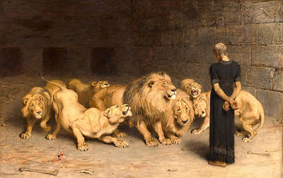 Lion  - Daniel In The Lions' Den by Briton Riviere
