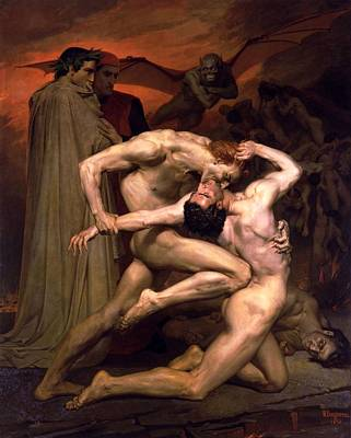 Virgil Painting - Dante And Virgil In Hell by William Adolphe Bouguereau