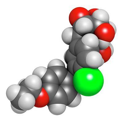 Dapagliflozin Diabetes Drug Molecule Art Print by Molekuul