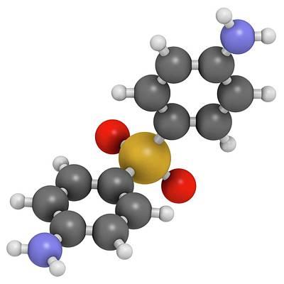 Molecule Photograph - Dapsone Antibacterial Drug Molecule by Molekuul