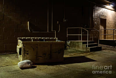 Photograph - Dark Alley With Trash Bin by Imagery by Charly