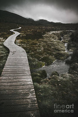 Cradle Board Photograph - Dark Dramatic Winter Landscape. Path Of Division by Jorgo Photography - Wall Art Gallery