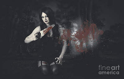 Handsaw Photograph - Dark Evil Vampire Girl With Killer Style by Jorgo Photography - Wall Art Gallery