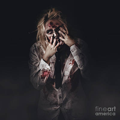 Photograph - Dark Halloween Portrait. Scary Evil Zombie by Jorgo Photography - Wall Art Gallery