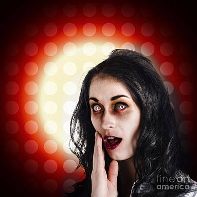 Shock Photograph - Dark Portrait Of A Zombie Girl In Shock Horror by Jorgo Photography - Wall Art Gallery