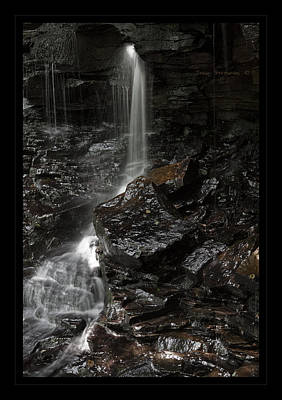 Photograph - Dark Rugged Canyon Waterfall by John Stephens