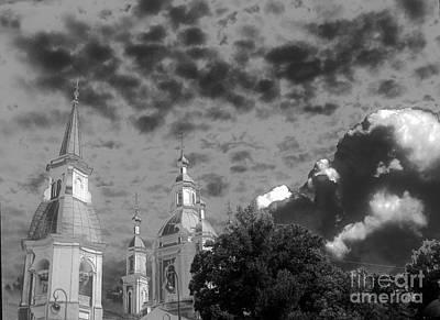 The Church Mixed Media - Dark Sky by Yury Bashkin
