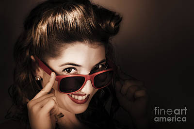 Earrings Photograph - Dark Summer Fashion. Pin Up Woman In Sunglasses by Jorgo Photography - Wall Art Gallery