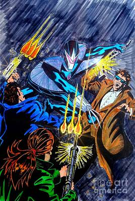 Spider Man Drawing - Darkhawk Issue 1 Homage To Mike Manley by Justin Moore