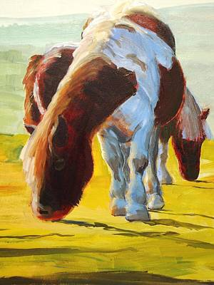 Painting - Dartmoor Ponies Painting by Mike Jory