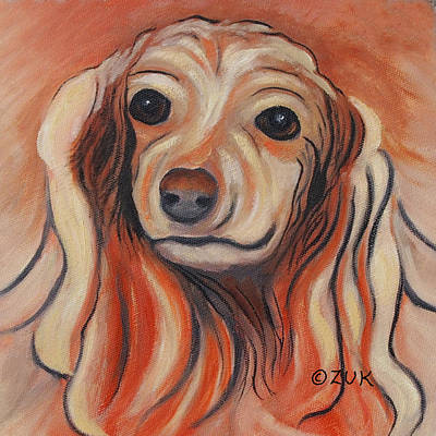 Art Print featuring the painting Daschound by Karen Zuk Rosenblatt