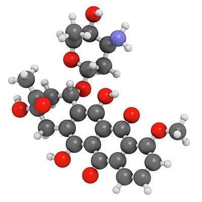 Molecule Photograph - Daunorubicin Cancer Drug Molecule by Molekuul