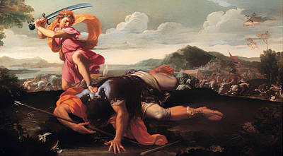 Christian Artwork Painting - David And Goliath by Mountain Dreams