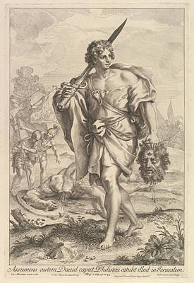 Frey Drawing - David With The Head Of Goliath by Robert van Audenaerde