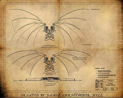 Future City Painting - Davinci's Wings by James Christopher Hill