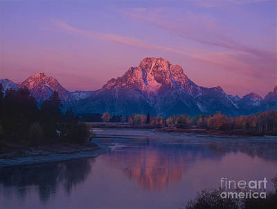 Photograph - Dawn Oxbow Bend In Fall Grand Tetons National Park Wyoming by Dave Welling