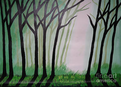 Day Light In Dark Forest Art Print by Jnana Finearts