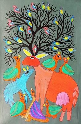 Durga Bai Painting - Db 206 by Durga Bai