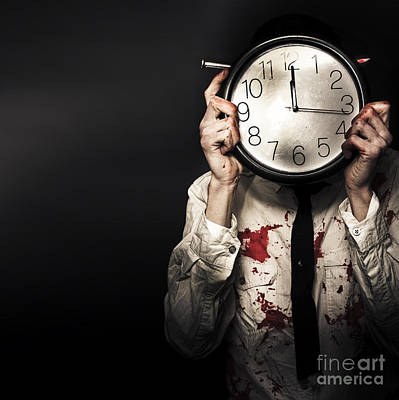 Dead Business Person Holding End Of Time Clock Art Print