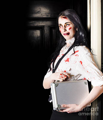 Dead Female Zombie Worker Holding Briefcase Print by Jorgo Photography - Wall Art Gallery