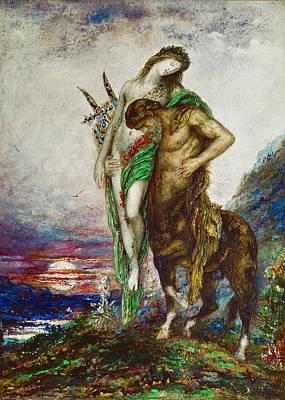 Centaur Drawing - Dead Poet Borne By Centaur by Gustave Moreau