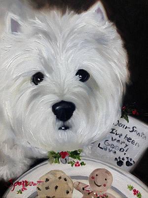 Christmas Cookies Painting - Dear Santa by Mary Sparrow