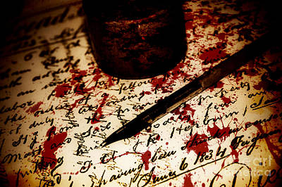 Death Certificate Signed In Blood Art Print by Jorgo Photography - Wall Art Gallery