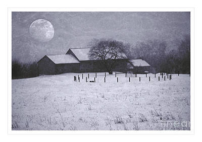Photograph - December Moonrise Farmstead by John Stephens