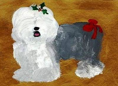 Mixed Media - Deck The Dog With Bow And Holly by Cathy Howard