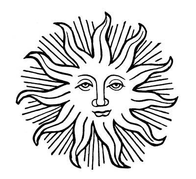 Decorative Sun Face Print by Granger