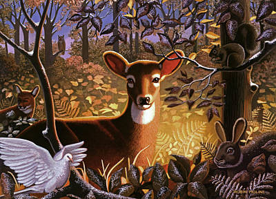 Winter Scene Painting - Deer In The Forest by Robin Moline