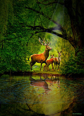 Digital Art - Deer Reflections by Michael Pittas