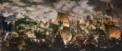 Spanish Galleons Painting - Defeat Of Spanish Armada by Granger