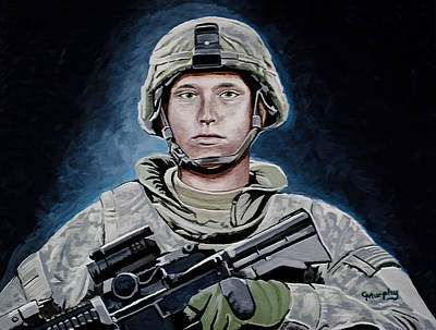 Iraq Painting - Defender Full Frame by Charles Murphy
