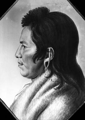 Montour Drawing - Delaware Native American by Granger