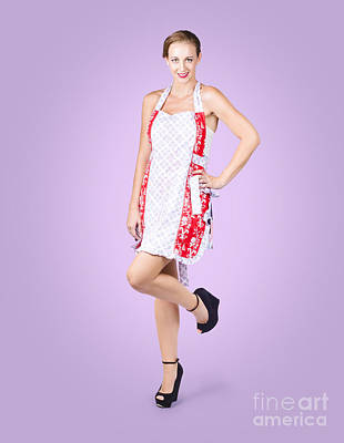 Apron Photograph - Delicious Pin-up Housewife Posing In Cooking Apron by Jorgo Photography - Wall Art Gallery