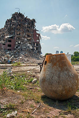 Demolition Of Detroit Housing Towers Art Print