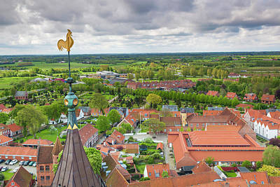 Jylland Photograph - Denmark, Jutland, Ribe, Elevated Town by Walter Bibikow